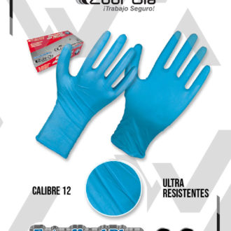 "Guantes Nitrilo Azul Calibre 12 Mls Caja X 50 unidades Zubiola ""ExtraHardBlur"""